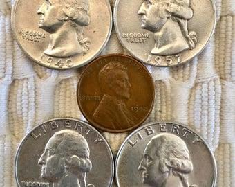 4 Ext FINE SILVER Washington QUARTER 1940 S, 1957 D, 1959 D, 1964 D Plus Free 1942 Wwii era Penny -   Free Usa Shipping