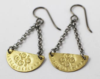 Brass Dangle Earrings, hand stamped earrings, tribal earrings, boho gift for mom, gold earrings, hypoallergenic earrings, sara westermark,