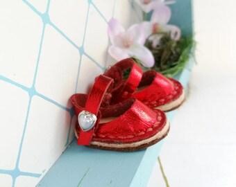 Mini Metallic Red Leather Mary Jane Shoes For Blythe Dolls Lati Yellow Pukifee Azone Pureneemo M S Body