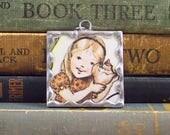 Tasha Tudor Pendant Girl with Seashell - Tasha Tudor Book Vintage Illustration -  Ocean Seashell Charm - Tasha Tudor Jewelry
