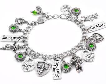 Cowardly Lion Bracelet, Tin Man Bracelet, Wizard of OZ Quotes, Scarecrow Bracelet in Swarovski Crystals handcrafted in stainless steel