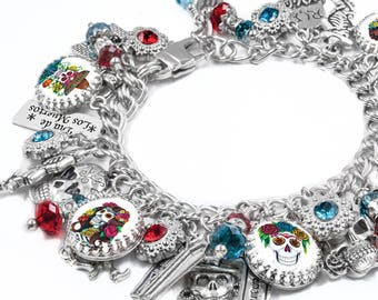 Day of the Dead Jewelry, Dia de Los Muertos, Day of the Dead Bracelet, Mexican Holiday, Sugar Skulls
