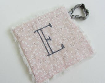 Baby Crinkle Toy ~Personalized Custom Hand Embroidered Initial ~ Sensory Toy ~ Baby Teething Toy ~ Baby Noise Toy ~ Pink Gray Floral Baby