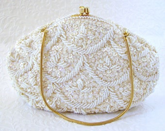 Simon Ivory Gold Beaded Sequin Wedding Purse White Glass Bead Bridal Handbag Clutch Evening Bag Boho Chic Vintage Bride British Hong Kong