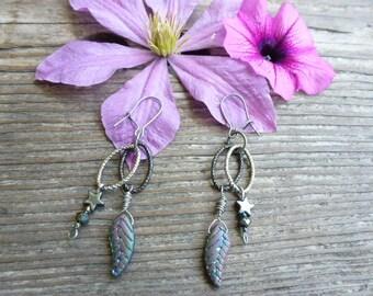 Designer Earrings, Long Dangly Earrings, Silvery Gray Peacock Czech Glass Leaves, Gunmetal Findings, Brushed Silver Metal Findings