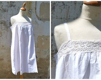 Vintage Antique  French Edwardian 1900 white cotton dress underdress nightgown  eyelet handmade embroideries size S/M/L