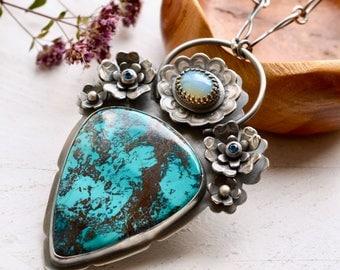 Azurite Necklace, Opal Statement Necklace, Silver Flower Jewelry, Botanical Jewelry, Topaz Pendant, Gemstone Jewelry, Birthstone Pendant