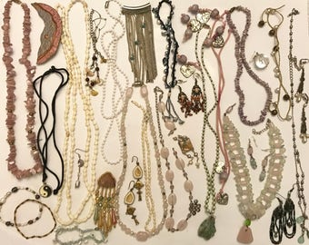 Vintage to Now Junk Craft Jewelry Beaded Necklace Earring and Bracelet Lot