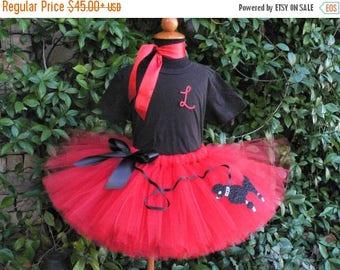 SUMMER SALE 20% OFF Poodle Skirt Tutu Set, Red Tutu Skirt w/ Poodle & Glitter Monogram Shirt, 50's Birthday Tutu Set, Sock Hop Tutu w/ Black
