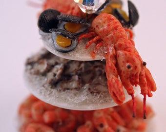 12th scale handmade 3 Tiers of Luxury Shellfish.