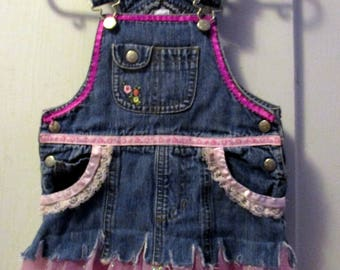 Upcycled and embellished denim overall tulle Pixie jumper for girls