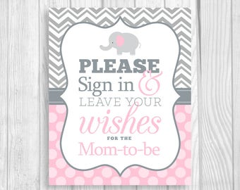 Please Sign in & Leave Your Wishes 8x10 Printable Elephant Baby Shower Mom-to-Be Guest Book Sign in Gray Chevron and Light Pink Polka Dots
