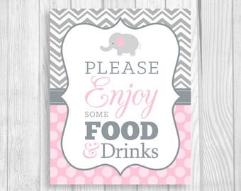 Please Enjoy Some Food and Drinks 8x10 Printable Elephant Girl's Baby Shower Sign in Gray Chevron and Light Pink Polka Dots - Baby Sprinkle
