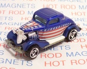 Hot Rod Magnet - 1934 Ford 3 Window : Hot Rod, Tool Box, Man Cave, Refrigerator, Stocking Stuffer, Magnet