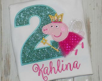 Peppa Pig Birthday Shirt, Peppa Pig Fairy Shirt, Pig Shirt, Girl Pig Birthday Shirt, Girl Birthday Shirt, Peppa outfit, sew cute creations