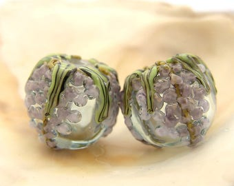 Hollow Light Aqua Wisteria Bead Pair Handmade Lampwork