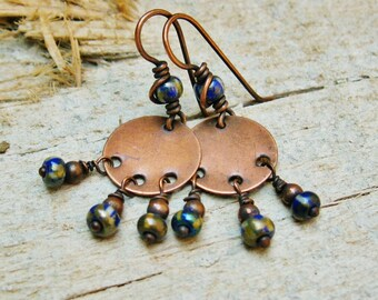 Czech Picasso Bead Dangles with antiqued copper wire wrapping - earthy earrings