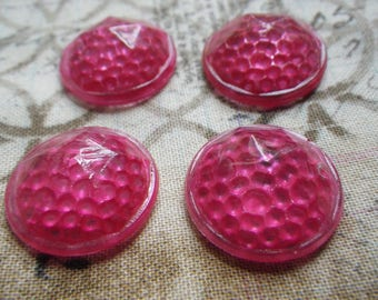 Hot Pink Painted Vintage Glass 19mm Round Reflectors 4 Pcs