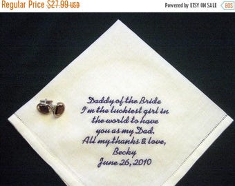 ON SALE Father Handkerchief - Father of Bride Handkerchief - Daddy of the Bride Handkerchief - Linen Handkerchief - Father of the Bride Gift
