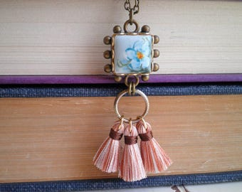 Vintage Forget Me Not Cameo Tassel Necklace by So Very Charming - Retro Blue Wildflower Square Cabochon Pendant - Fiber Art Jewelry Gift
