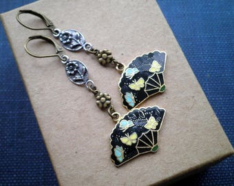 Vintage Butterfly Fan Charm Cloisonne Earrings - Retro Floral Dangles - Tiny Butterflies & Flowers Boho Chic Nature / Insect Jewelry Gift