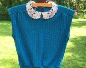 Vintage 1970s knit sweater vest blouse top
