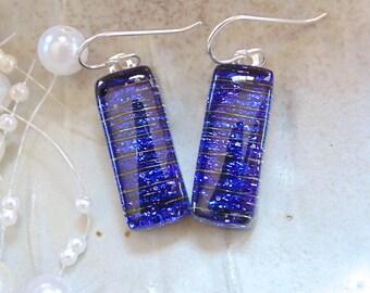 Cobalt Blue Earrings, Dichroic Earrings, Glass, Fused Jewelry, Dangle, Sterling Silver, A7