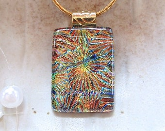 Dichroic Glass Pendant, Glass Jewelry, Necklace, Copper, Gold, Necklace Included, A7