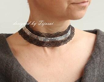 SALE-Necklace-charm choker-fiber neck piece-unique accessory