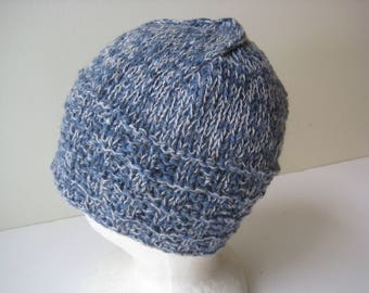 blue knit cap denim blue hand knit hat
