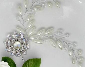 Pearl Vine, Wedding Hair pins, Pearl bobby pin, Bridesmaid hair Clip, Crystal Hair Vine, Bridal hair clip, Ivory Pearl,  Bobby Pin, Tea Rose