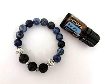 Lava and Sodalite Essential Oil Diffuser Bracelet