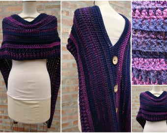 Purple Blend Poncho - Shawl - Coverup - Sweater- Hand Crochet -asymmetrical-  Custom Colors Available