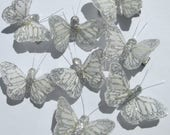 Butterfly Hair Clips small white and silver glitter Monarch feather butterfly hand made hair clips by Ziporgiabella