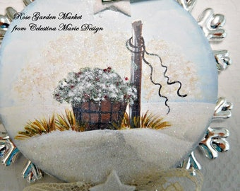Peace, Wood Hand Painted Winter in the Country Barrel Scene, Silver and White Snowflake with Star Accents Ornament, ECS
