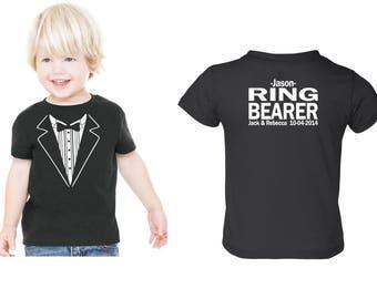 Personalized  with NAME Children Wedding Tuxedo RING BEARER Tshirt  Child size Tux  Rehearsal Shirt