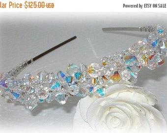 20% OFF Swarovski Crystal Tiara Clear AB Aurora Borealis Rainbow Crystals Beaded Sparkly Silver Crown Headband Head Band