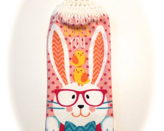 Bunny With Glasses Hand Towel With White Crocheted Top