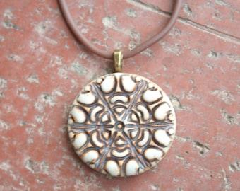 Rustic Medallion Porcelain Pendant