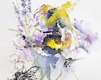 Bumble Bee Print. Bee Art. Honey Bee. Worker Bee. Watercolour Print.
