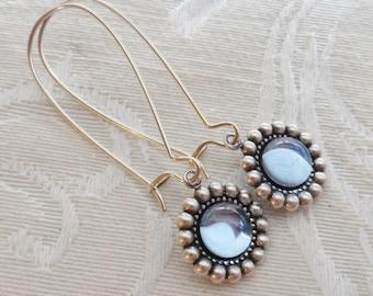 50% Off Clearance Sale, Light Blue, Vintage Glass Earrings