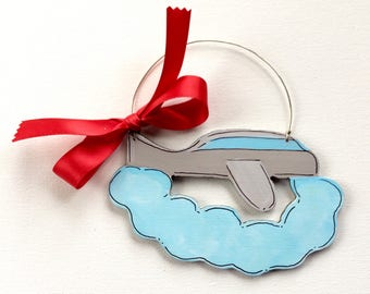Airplane ornament - travel ornament - pilot ornament - plane ornament - personalized ornament - Christmas ornaments - painted - flying