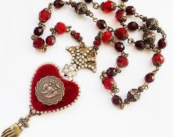 Ex Voto Heart Necklace, Sacred Heart, Necklace, Catholic Jewelry, Milagro Heart Necklace,  Ex Voto, Red Heart, Rosary, gift, Silk velvet