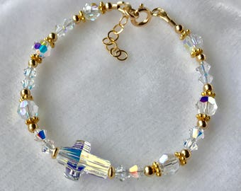 Gold Cross Baby Bracelet, Crystal Pearl Gold Bracelet, Gold Cross Bracelet,Flower Girl, First Communion Bracelet, Confirmation Bracelet