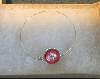Boston Red Soxs  Cabochon Pendant Base Bangle Bracelet 16mm size 7
