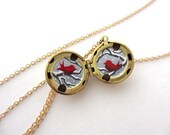 Love Birds Locket, Hand-painted in Oil Enamel, Valentines Jewelry, Tiny Art Necklace