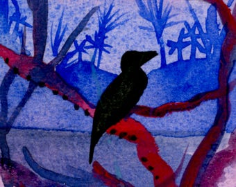 Gentle Breeze ACEO Original Landscape Painting Bird Silhouette Purple Blue Animal Watercolor Painting ACEO Artwork