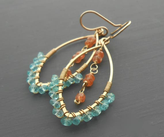 Gold Filled Wire Wrapped Hoops With Apatite and Sunstone