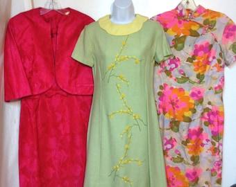 33 Pc Vintage 60s CLothing Lot Mod Dress 60s Blouses Hippie Skirt Romper Dress suit Pants Suit Early 60s to 70s
