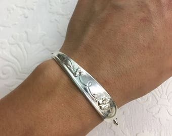 Dainty Floral ID Style Spoon Handle Bracelet with Magentic Clasp